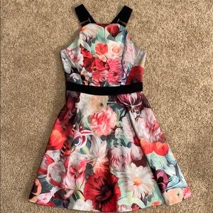Ted Baker London Floral & Rose Gold Accent Dress